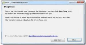 quickbooks file doctor not able to fix the issue