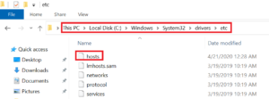Path for windows host file