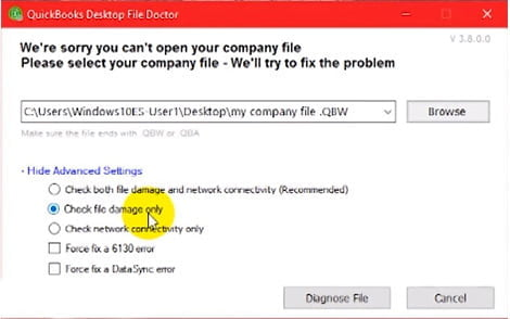 check the file damage only option in quickbooks file doctor